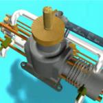 Animação 360º de um motor de modelismo