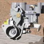 Animação 360º de um carburador de um motor automóvel